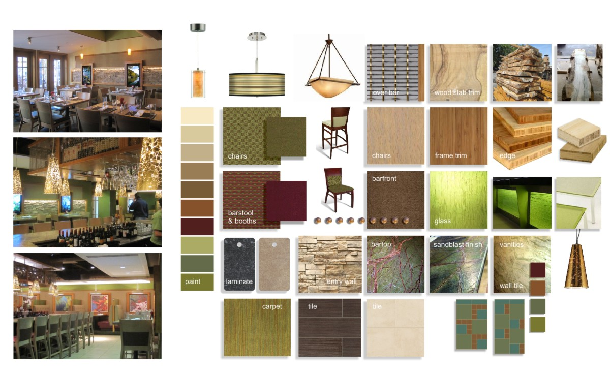 A mosaic of images showing various colors and finishes individually and also as the finished project.