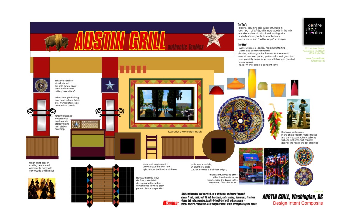 A mosaic of design element images, colors and finishes for Austin Grille.