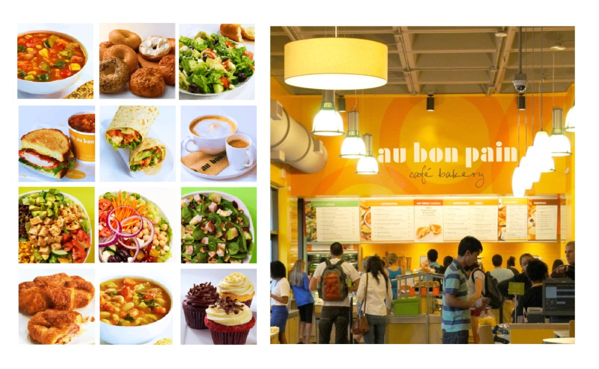 A mosaic image of one of the graphics systems used in Au Bon Pain installations as well as an image of an Au Bon Pain site with the graphics.
